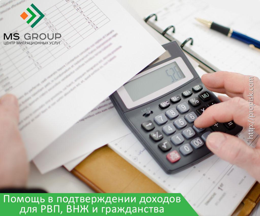 Помощь в подтверждении доходов для РВП, ВНЖ и гражданства